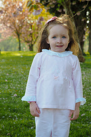 Pink Floral Broidre Angliase Trim Outfit