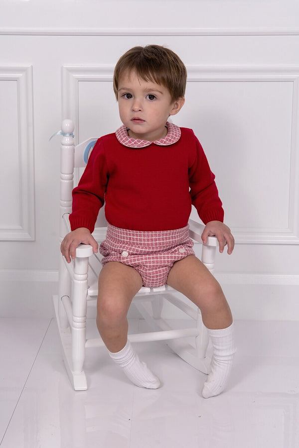 Granlei Red Knitted Top With Tweed Shorts