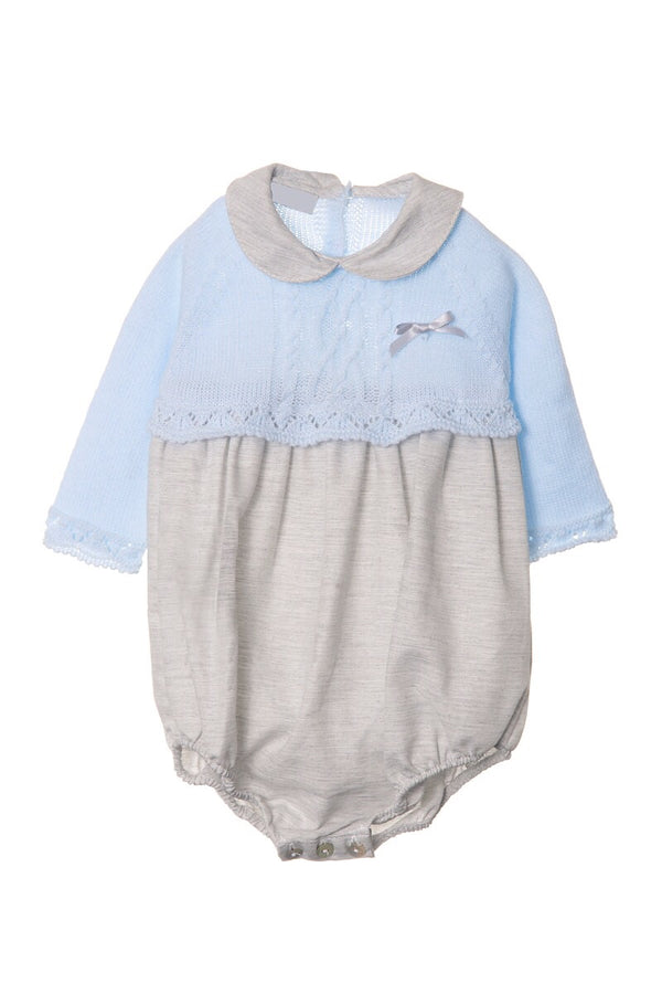 Jacob Matthews Blue And Grey Cable Knit Romper