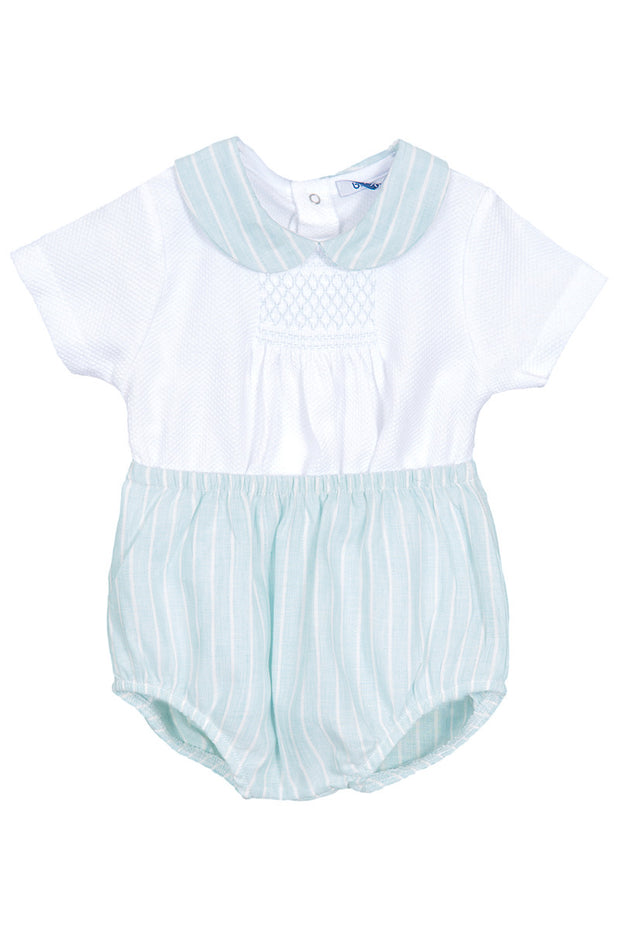 Green Stripe Smocked Outfit