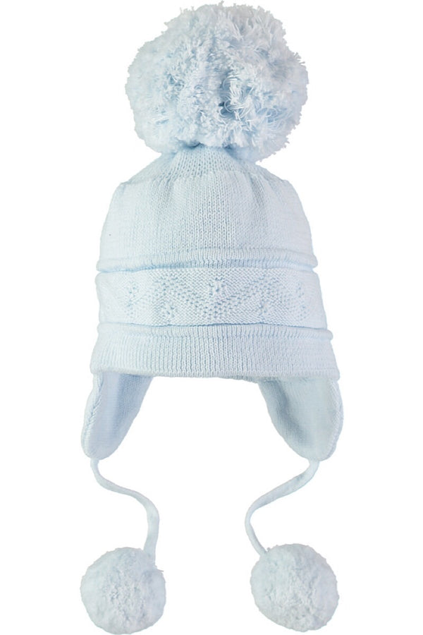 5e596575ead Emile Et Rose Blue Triple Pom Pom Hat