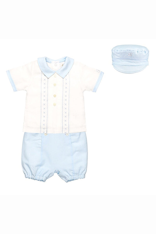 Emile Et Rose Blue Cross Stitch Top Shorts And Hat