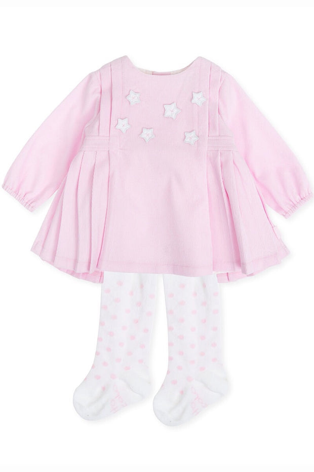 Pink Corduroy Pleat Star Dress And Tights