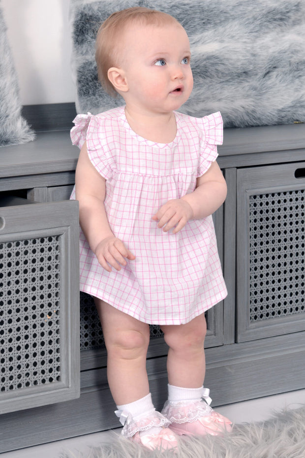 Pink Check Dress And Bloomers