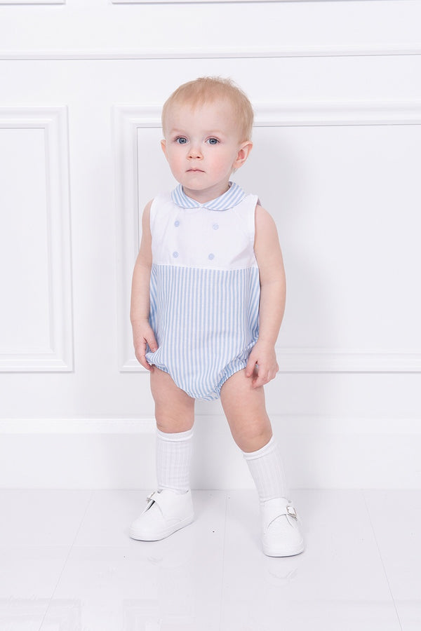 Babidu White And Blue Striped Romper