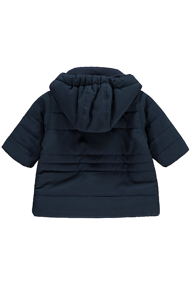 Navy Jacket With Detachable Hood And Mittens