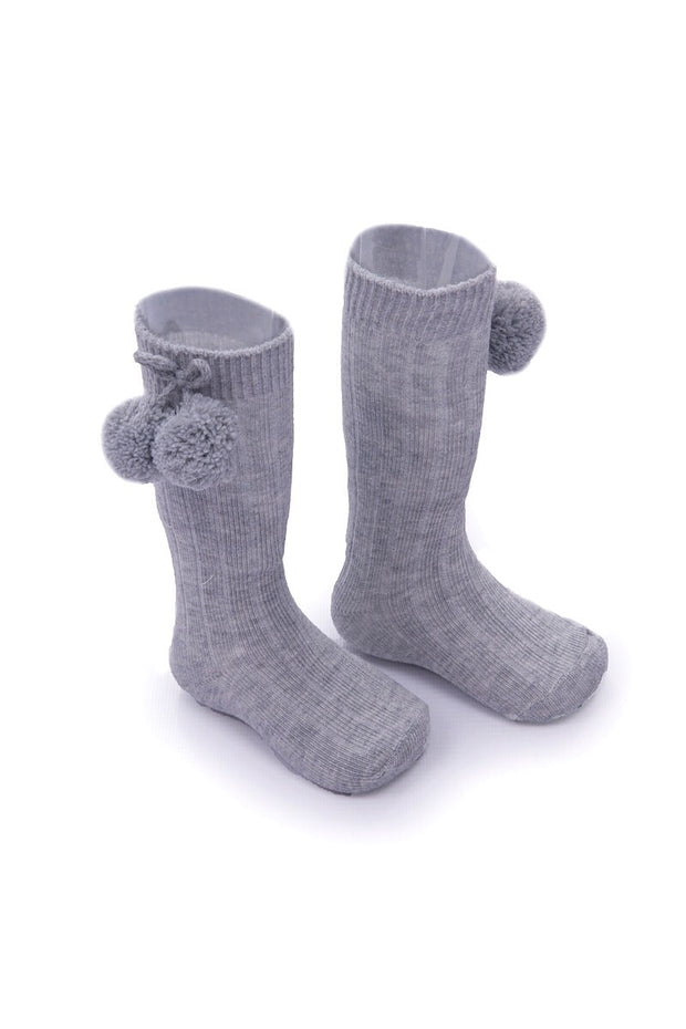 Grey Knee Length Pom Pom Socks