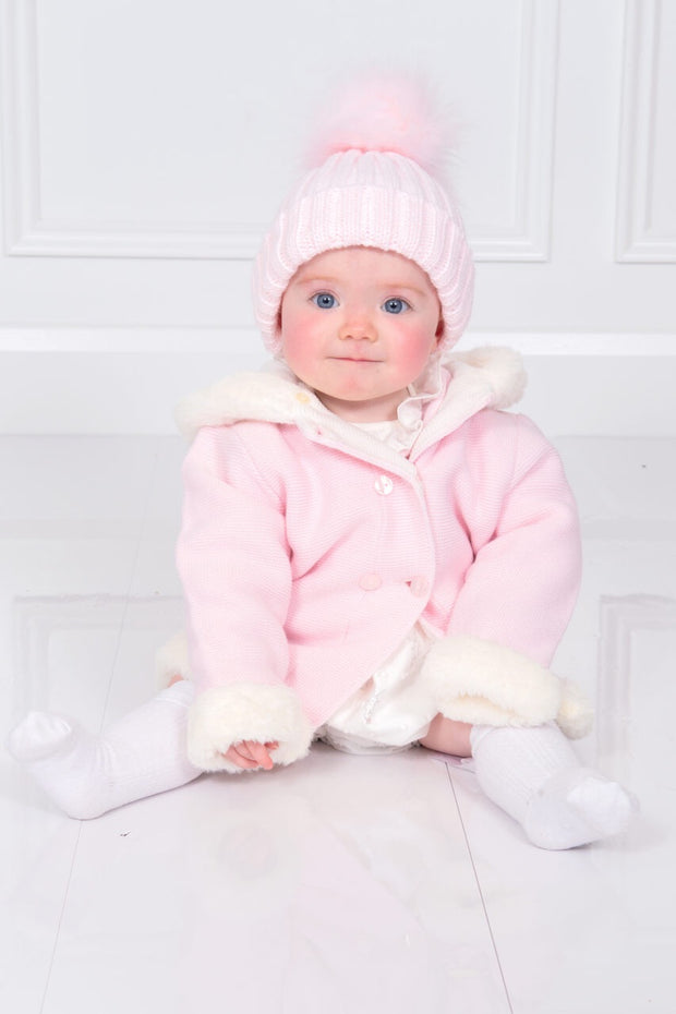 Pink Knitted Faux Fur Trim Coat