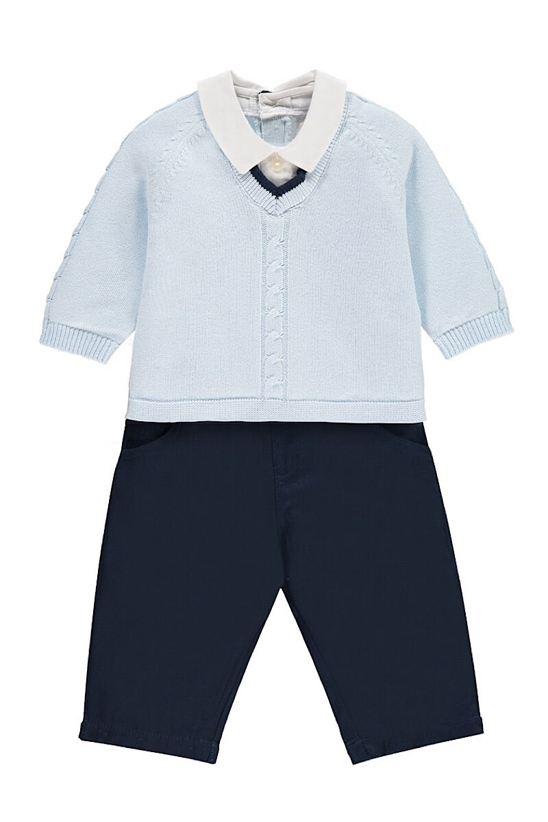 Emile Et Rose Blue Knitted Top And Navy Pants