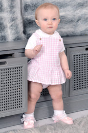 Pink Check Frill Romper