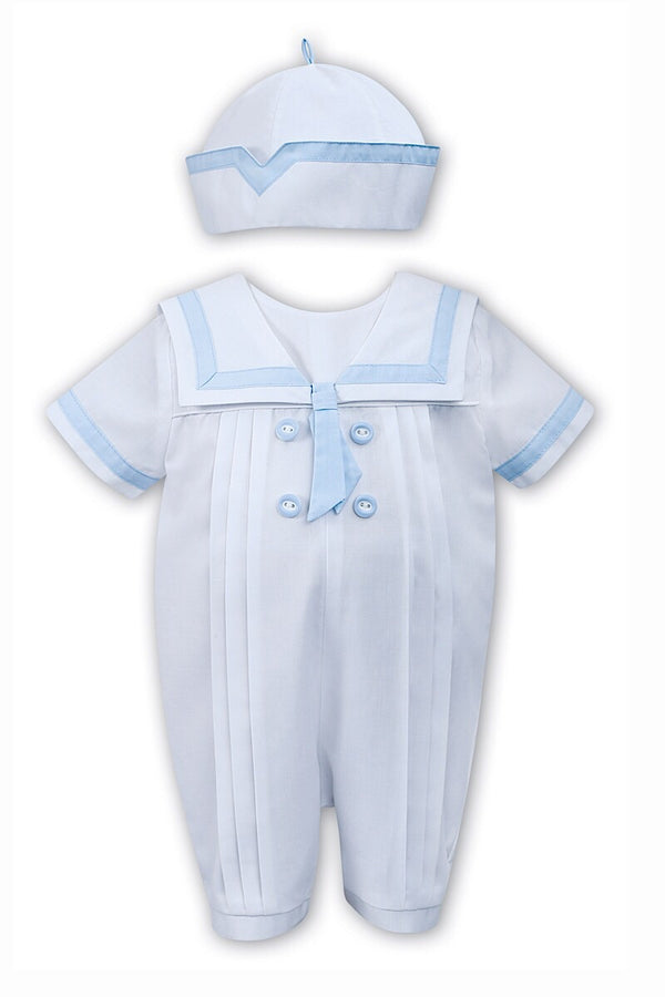 Sarah Louise White Sailor Blue Trim Romper With Hat
