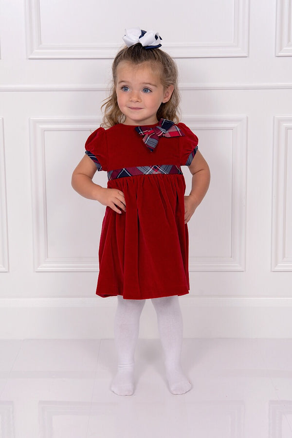 Patachou Red Cotton Velvet Dress With Tartan Detail