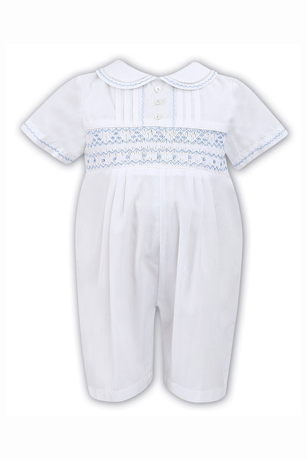 Sarah Louise White And Blue Smocked Romper