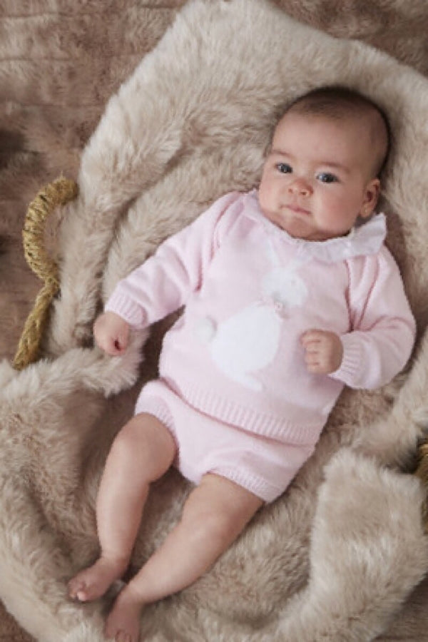 Granlei Pink Knitted Bunny Top And Shorts