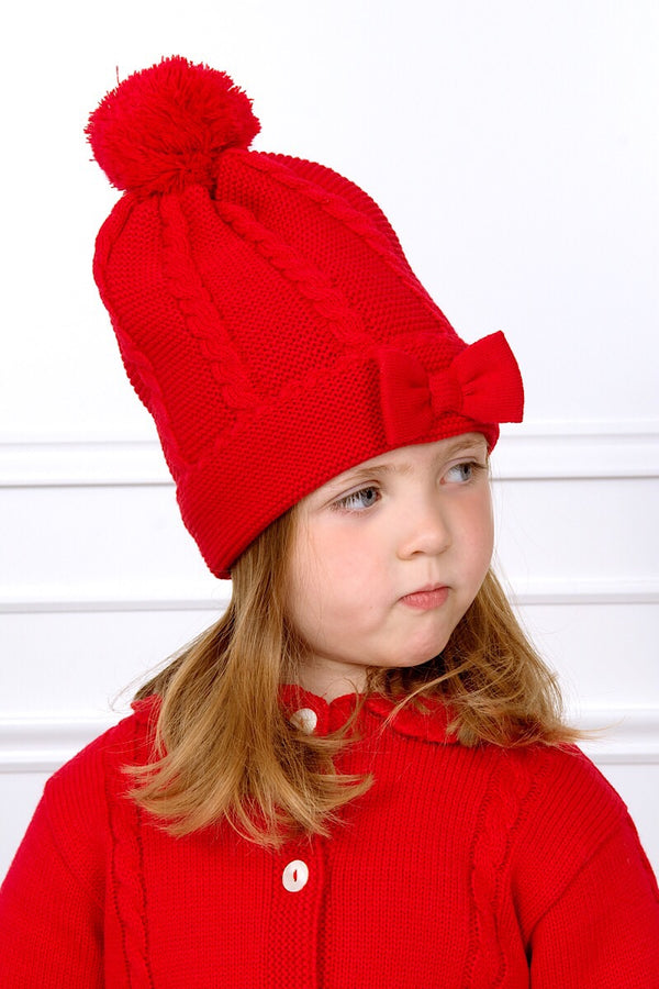 Sarah Louise Red Cable Knitted Hat