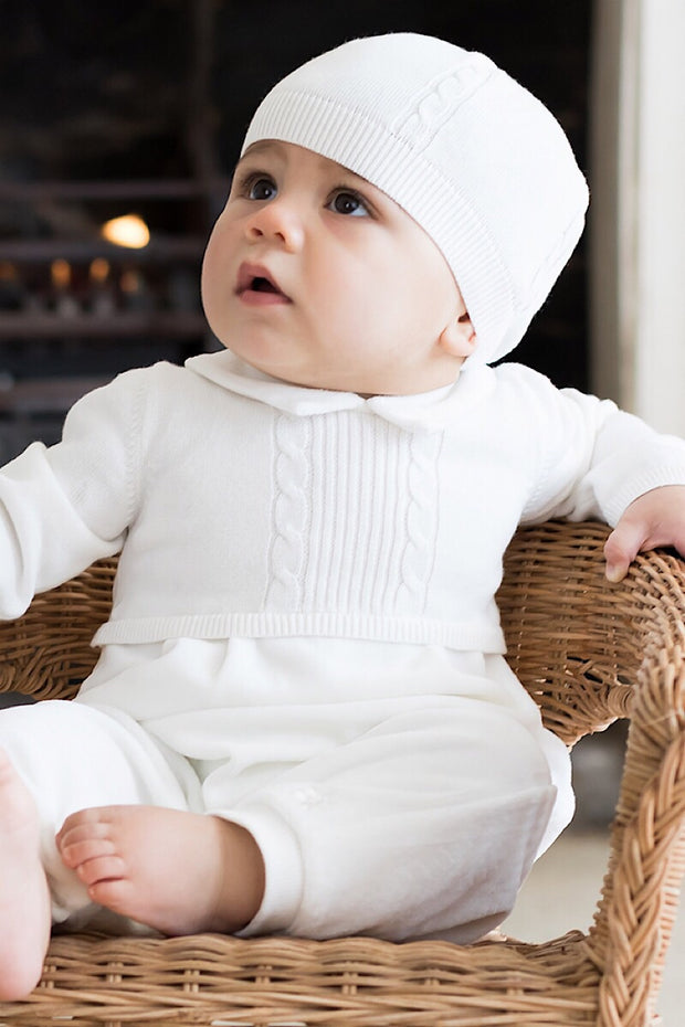 Ivory Classic Knit Romper And Hat