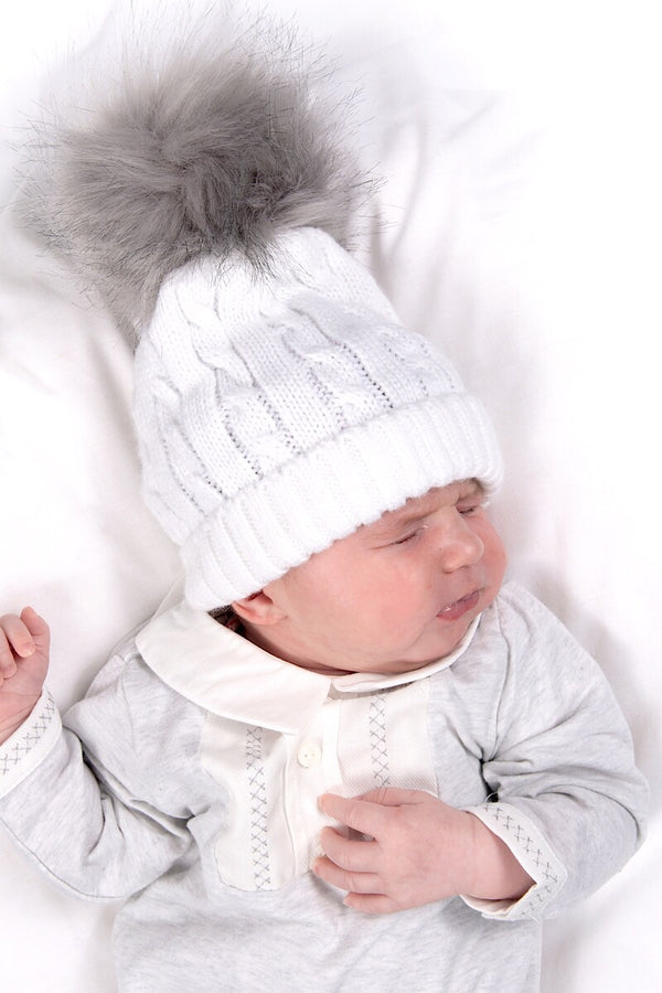 White Cable Knitted Hat With Light Grey Pom Pom
