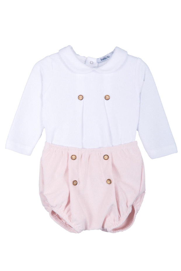 White Top With Button Pink Shorts