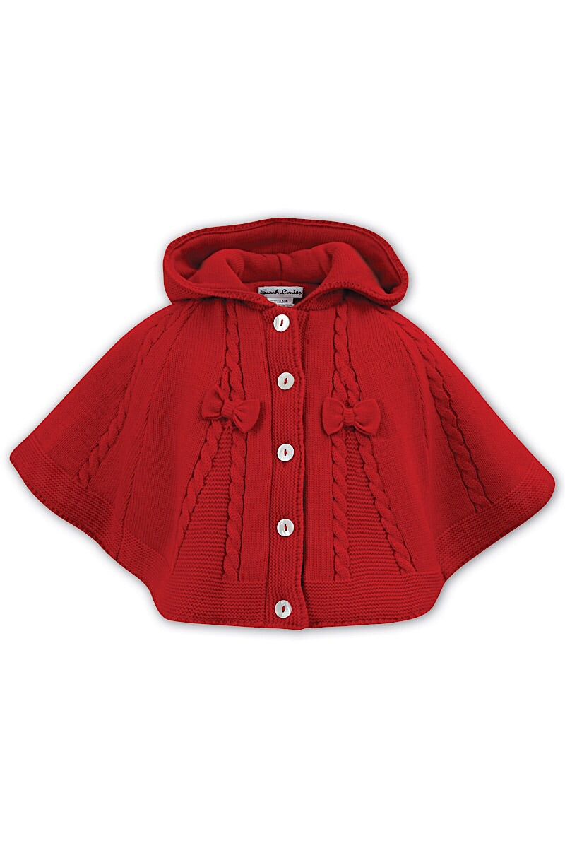Sarah Louise Red Knitted Cable Poncho
