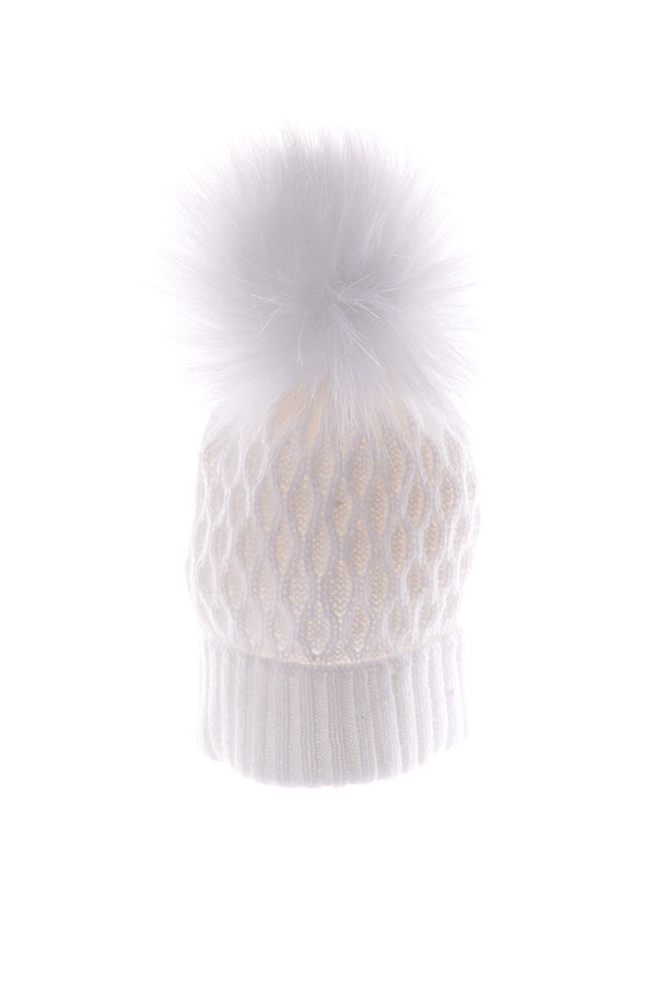 White Knitted Crosshatch Pom Pom Hat