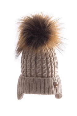 Beige Knitted Hat With Car Motif