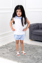 Blue Elephant Frill Top And Shorts