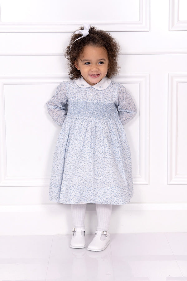 Sarah Louise Blue Floral Dress With Hand Smocking