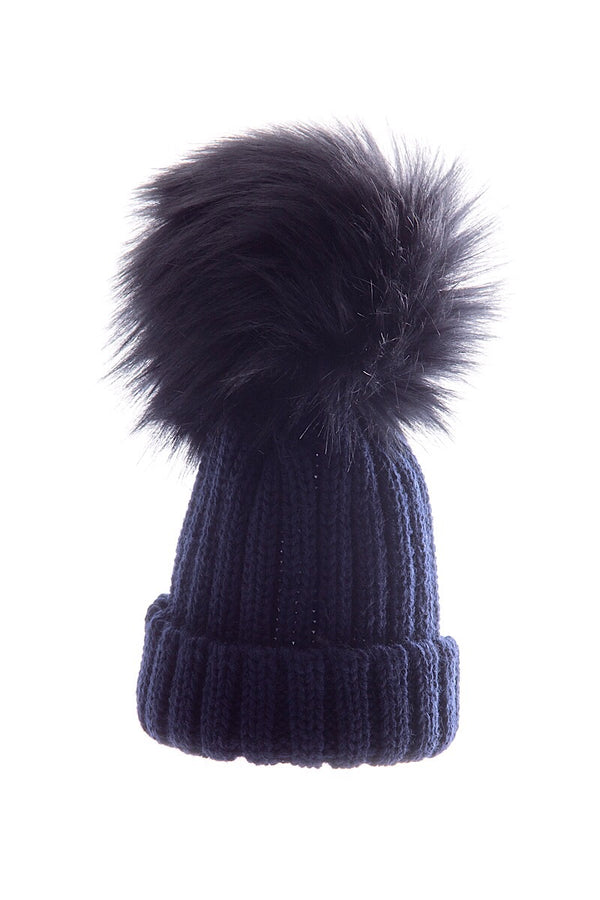Navy Large Fur Pom Pom Hat
