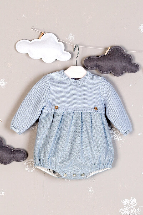 Mebi Blue Romper With Knit Top And Woven Bottom