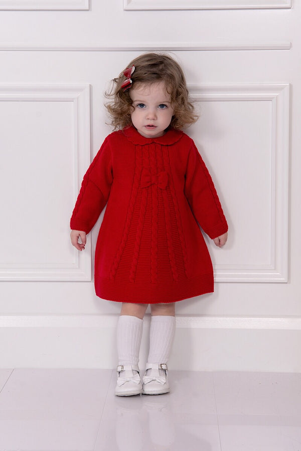 Sarah Louise Red Knitted Cable Dress
