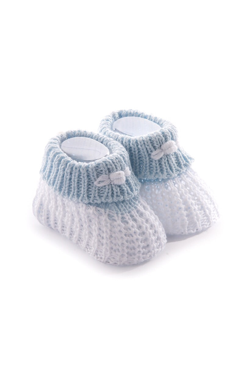 Blue/White Cotton Turnover Booties
