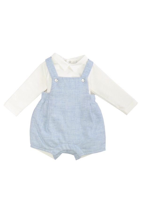 Laranjihna Blue Checked Dungaree With White Top