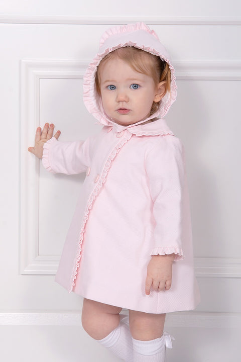 Pink Frill Jacket And Bonnet