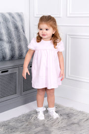 Pink Flower Embroidered Dress And Bloomers