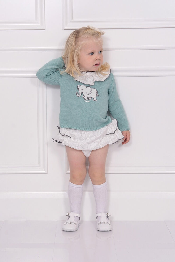Foque Girl Mint Elephant Frill Jumper And Shorts