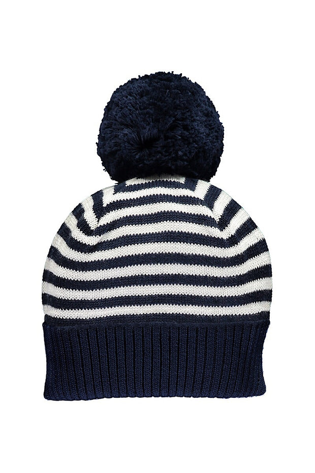 Navy Knit Stripe Pom Pom Hat