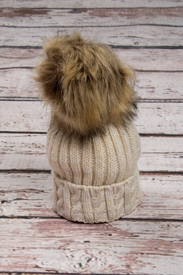 Beige Knitted Cable Hat With Dark Beige Fur Pom Pom