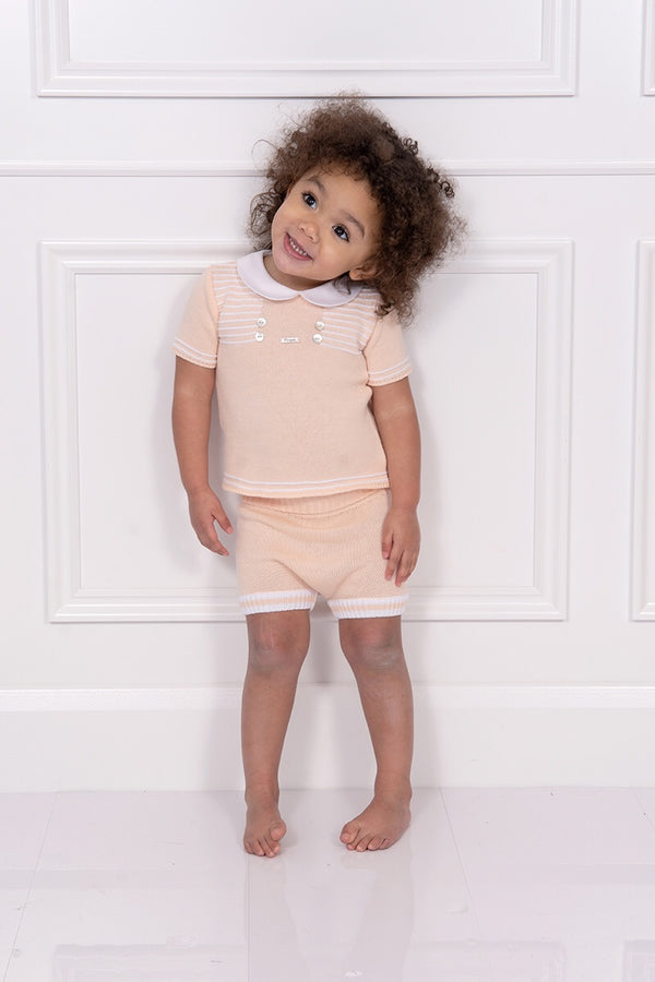 Foque Peach Knitted Top And Pants