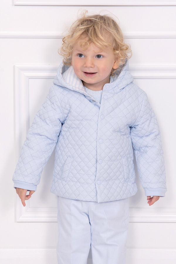 Mintini Powder Blue Quilted Jacket With Fleece Lining