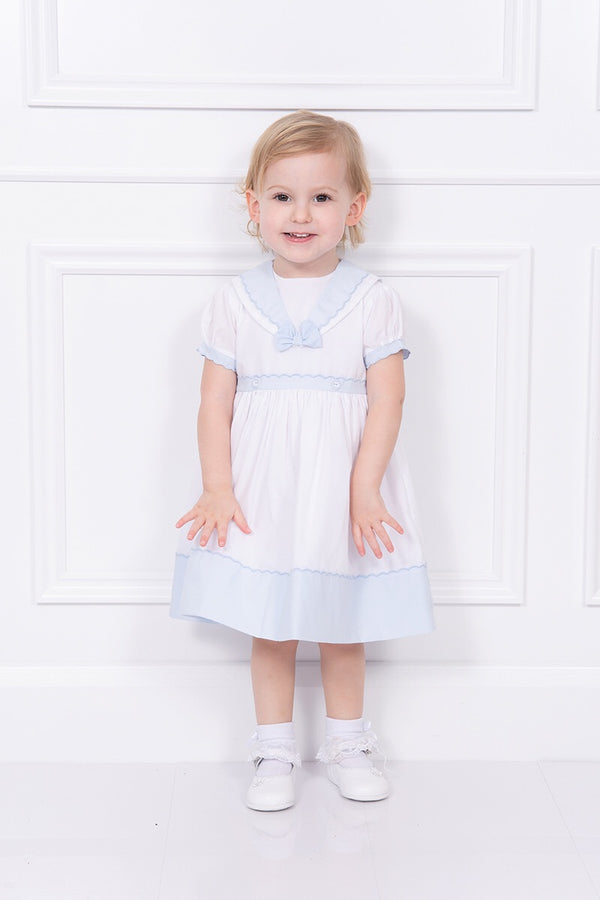 Sarah Louise Blue Scolloped Trim Dress