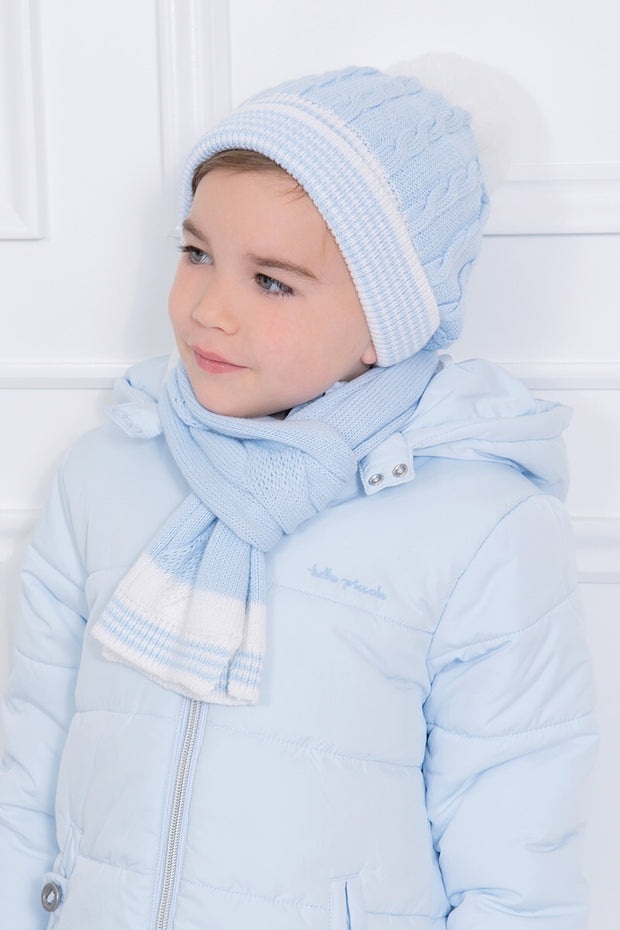 Blue Cable Hat And Scarf