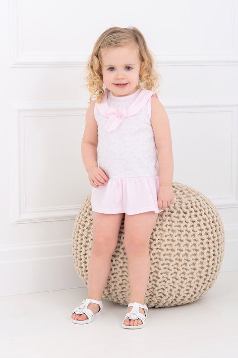 Pink Sailor Print Dress And Bloomers