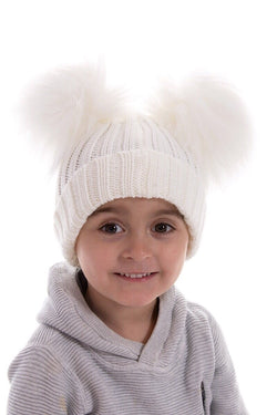 Cream Double Fur Pom Pom Hat