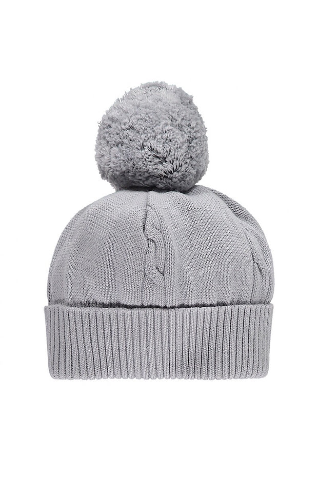 Emile Et Rose Grey Knitted Pom Pom Hat