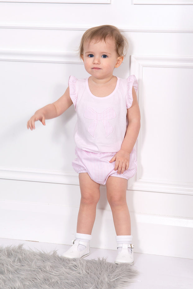 Pink Textured Bow Top And Bloomers