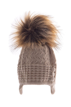 Beige Knitted Hat With Button Design