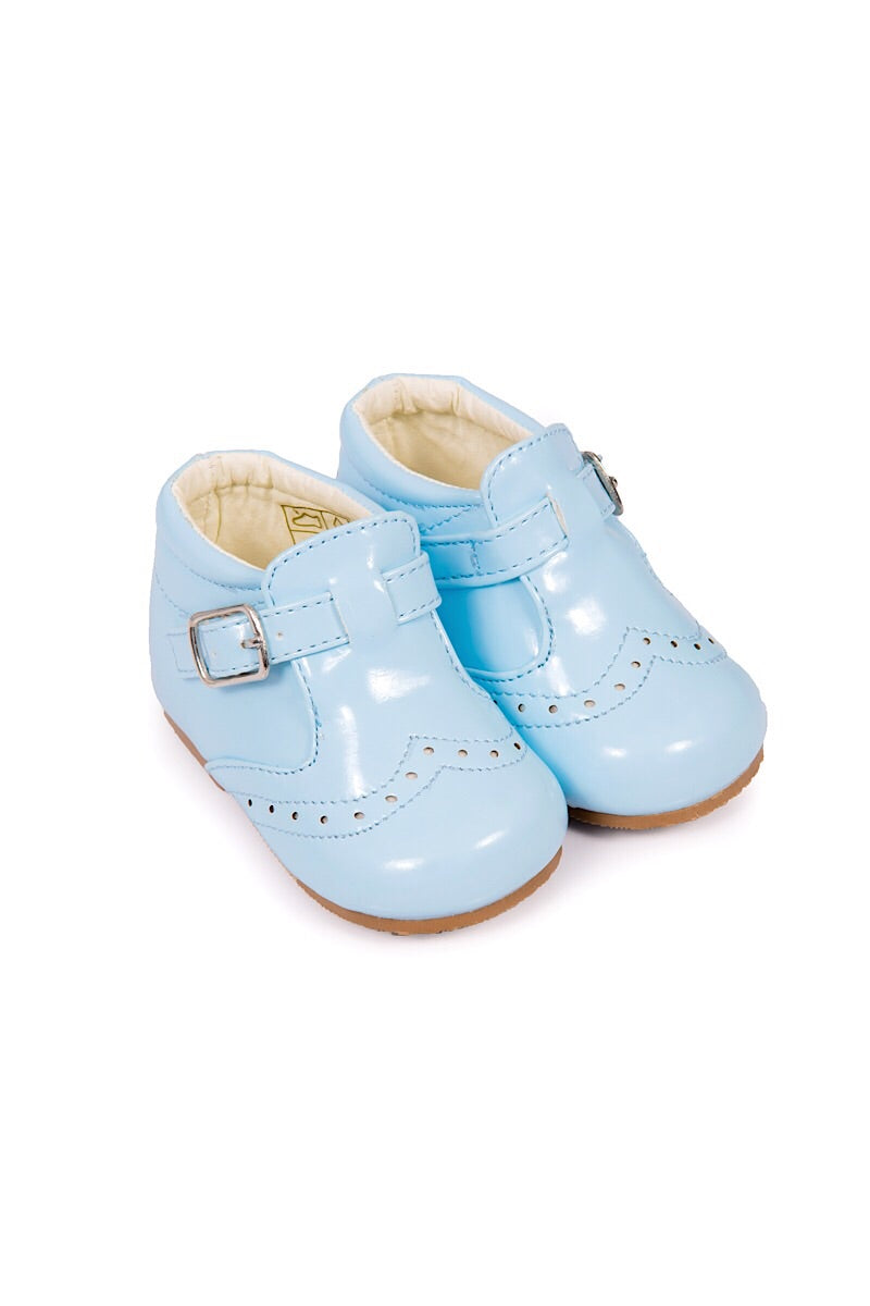 Seeva Powder Blue Buckle Up Hard Sole Shoes