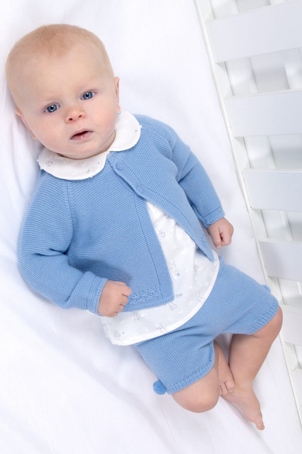 Blue Knitted Outfit With Bunny Shirt