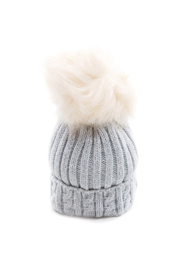 Grey Knitted Cable Hat With Cream Fur Pom Pom