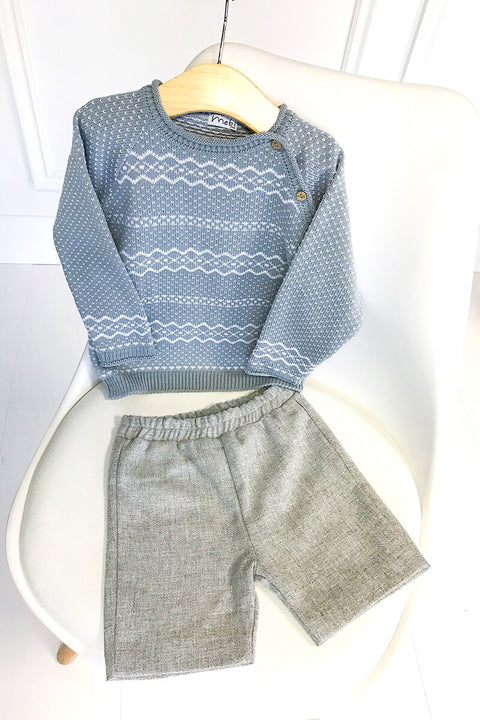 Grey Fairisle Knit Jumper With Woven Shorts